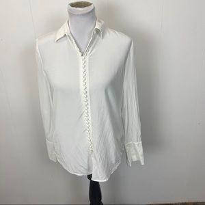 Club Monaco White Silk Button Down Blouse